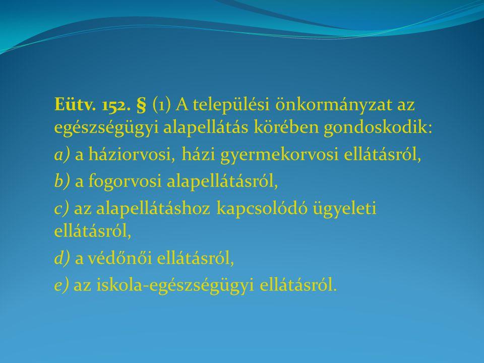 Eütv. 152. § (1) A települési önkormányzat az egészségügyi alapellátás körében gondoskodik: