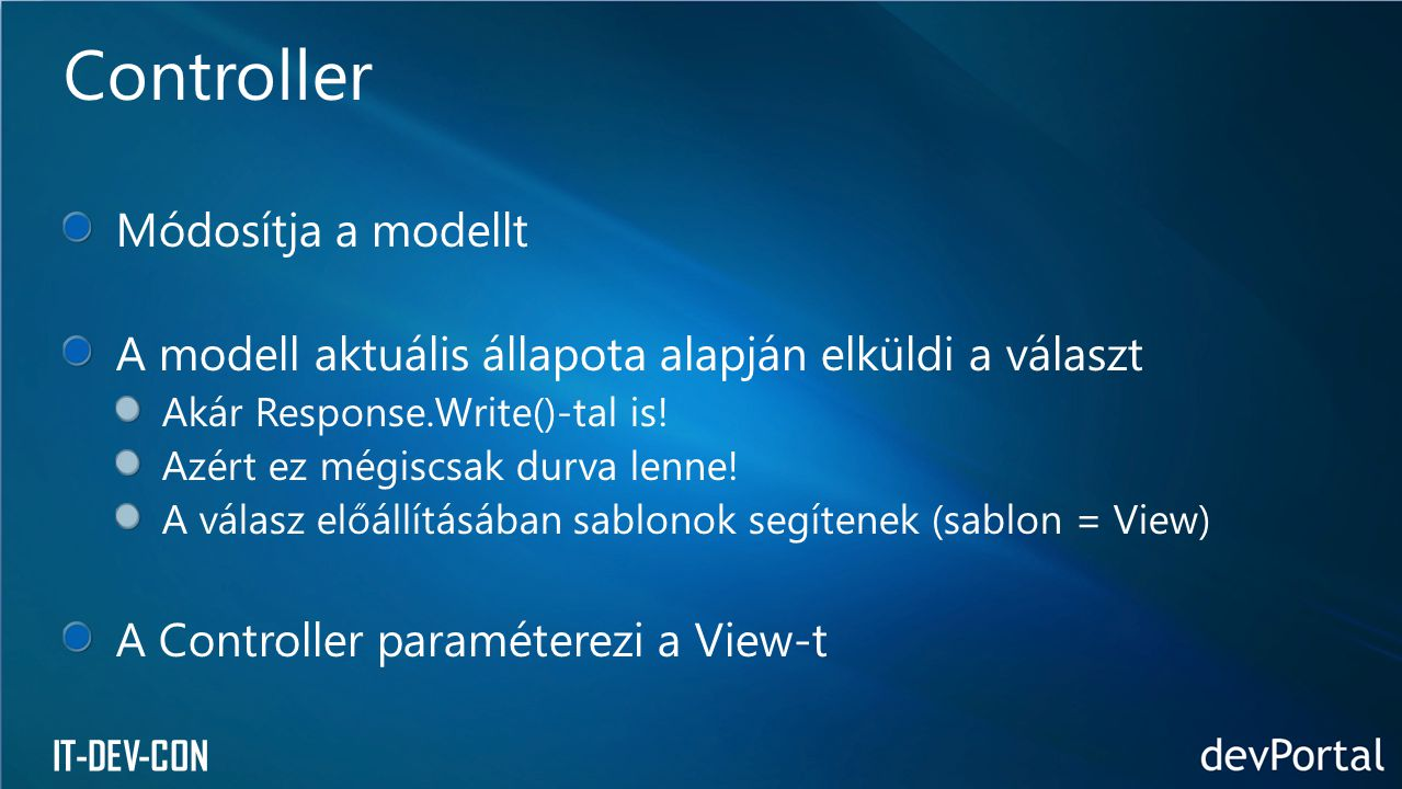 Controller Módosítja a modellt