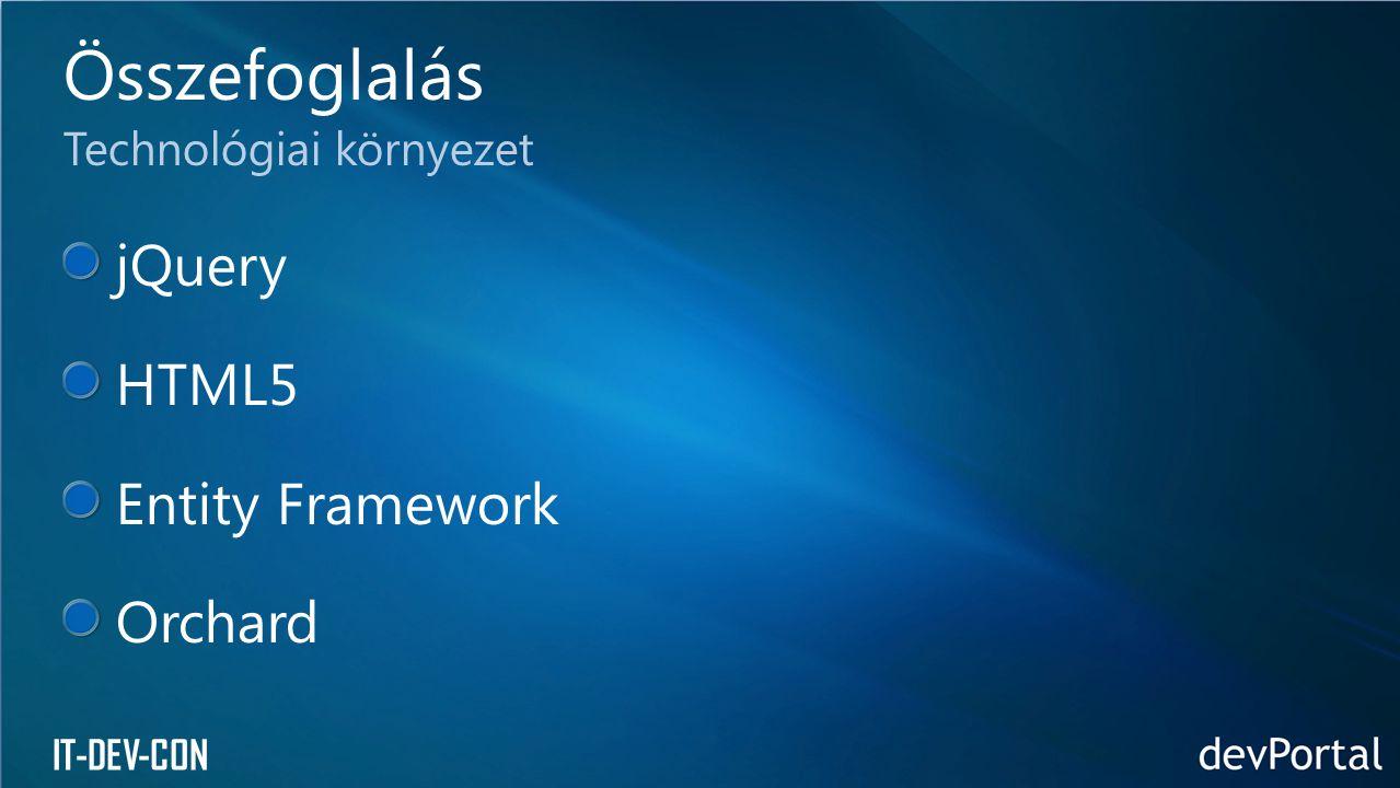 Összefoglalás jQuery HTML5 Entity Framework Orchard