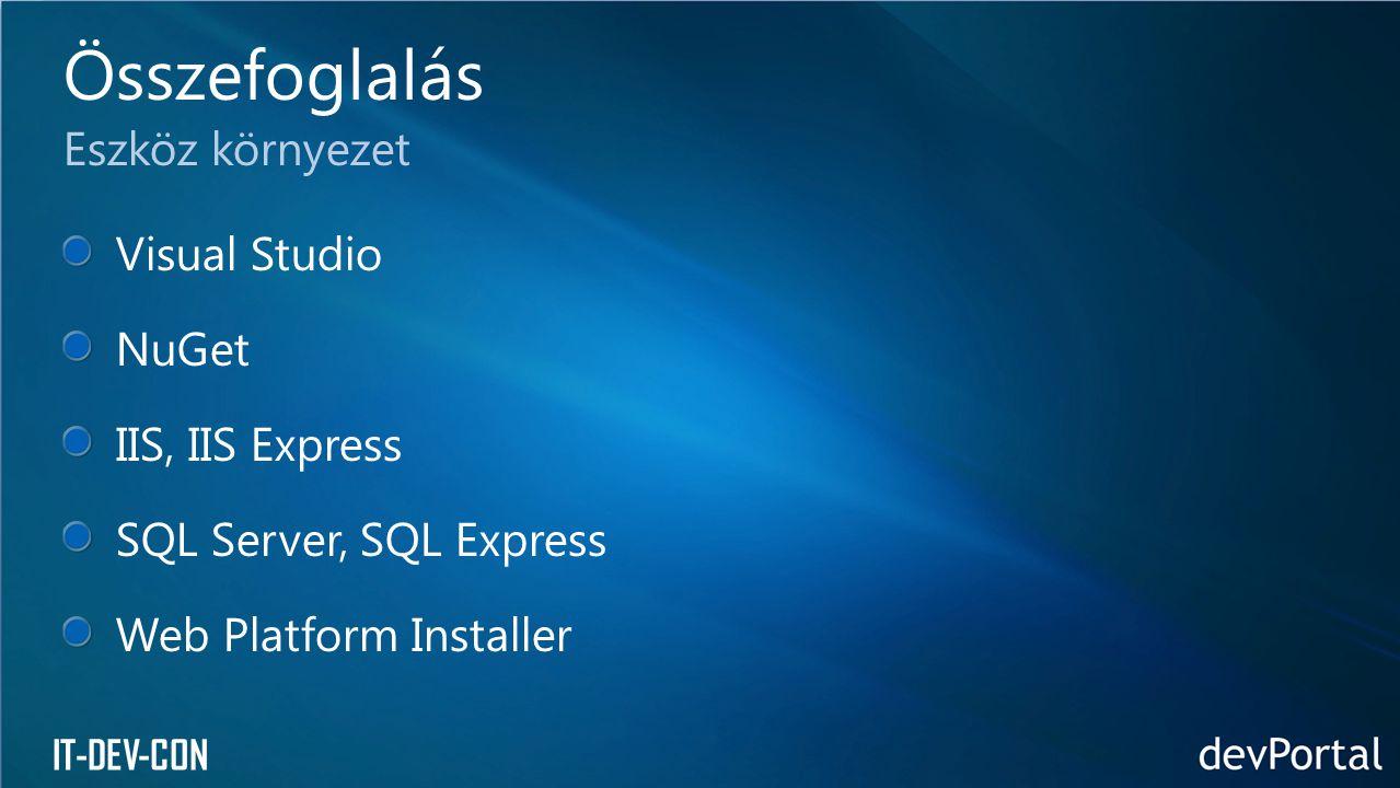 Összefoglalás Eszköz környezet Visual Studio NuGet IIS, IIS Express