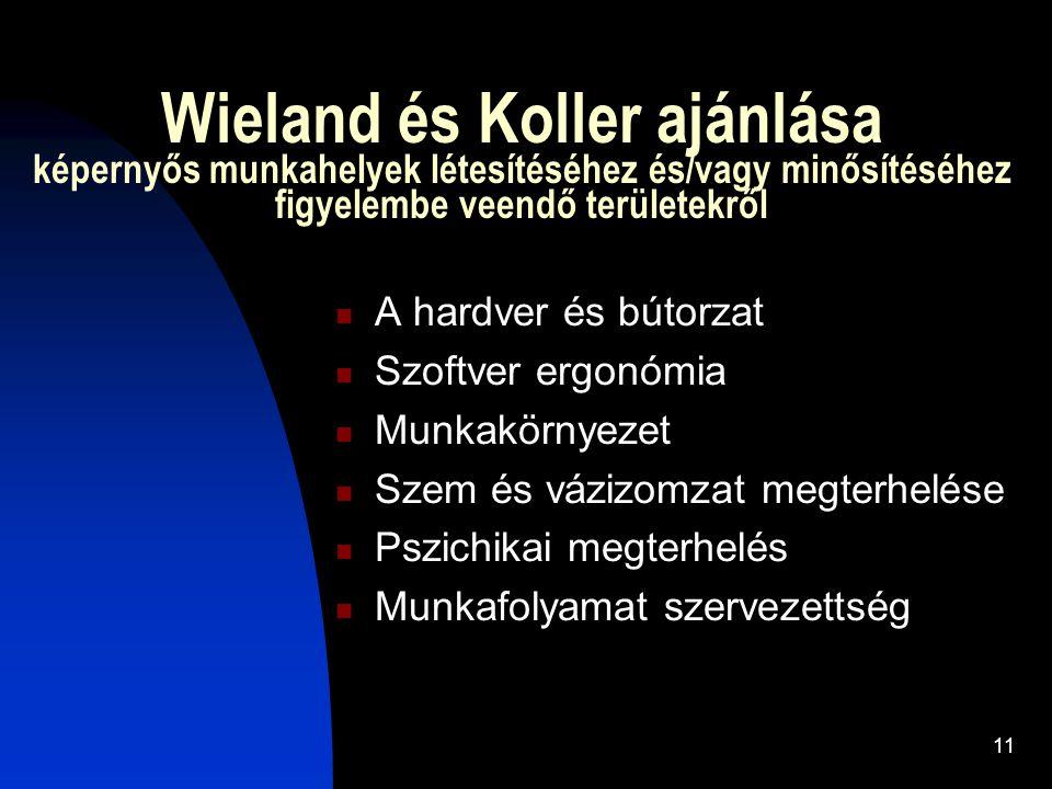 Wieland és Koller ajánlása képernyős munkahelyek létesítéséhez és/vagy minősítéséhez figyelembe veendő területekről