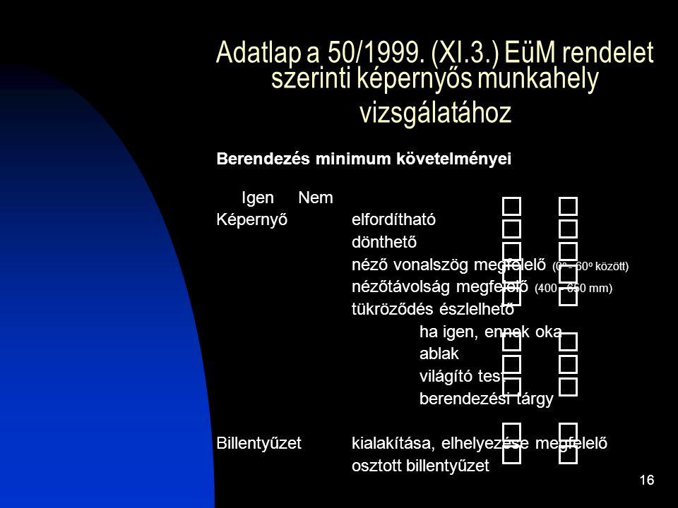 Adatlap a 50/1999. (XI.3.) EüM rendelet szerinti képernyős munkahely vizsgálatához