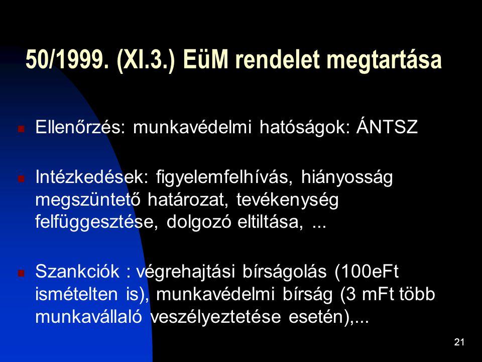 50/1999. (XI.3.) EüM rendelet megtartása