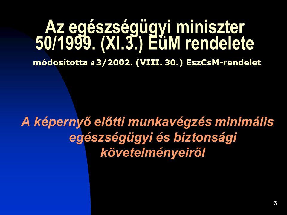 Az egészségügyi miniszter 50/1999. (XI. 3