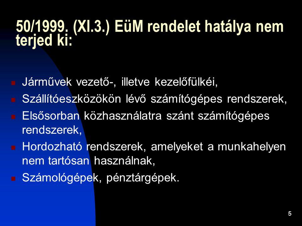 50/1999. (XI.3.) EüM rendelet hatálya nem terjed ki: