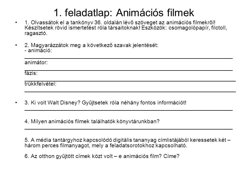 1. feladatlap: Animációs filmek