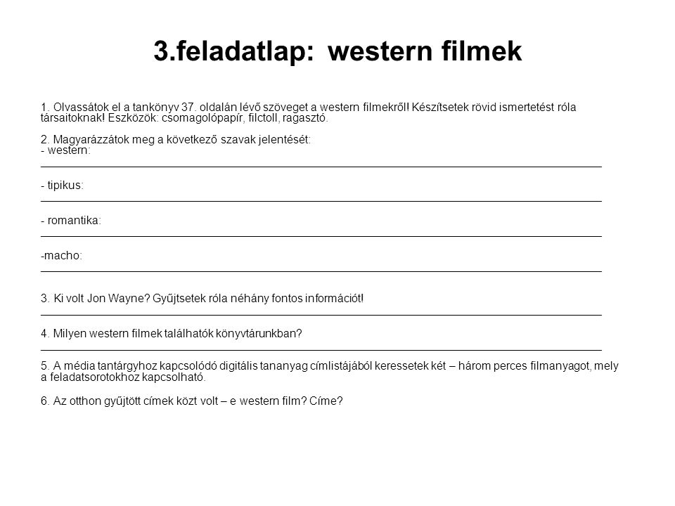 3.feladatlap: western filmek