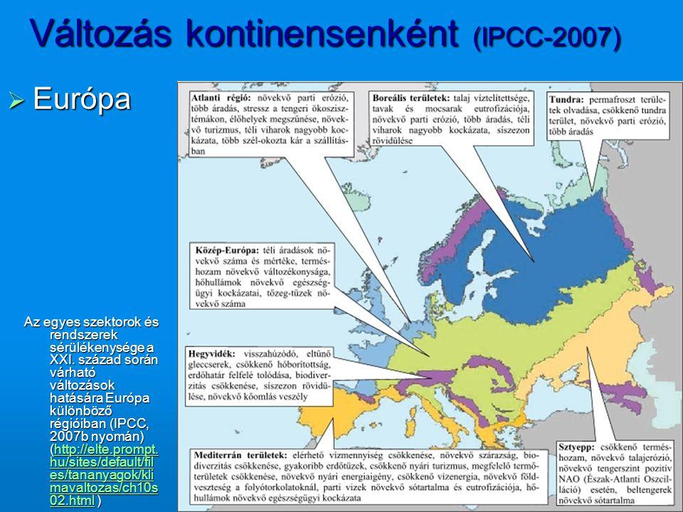 Változás kontinensenként (IPCC-2007)