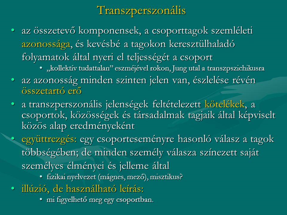 Transzperszonális az összetevő komponensek, a csoporttagok szemléleti
