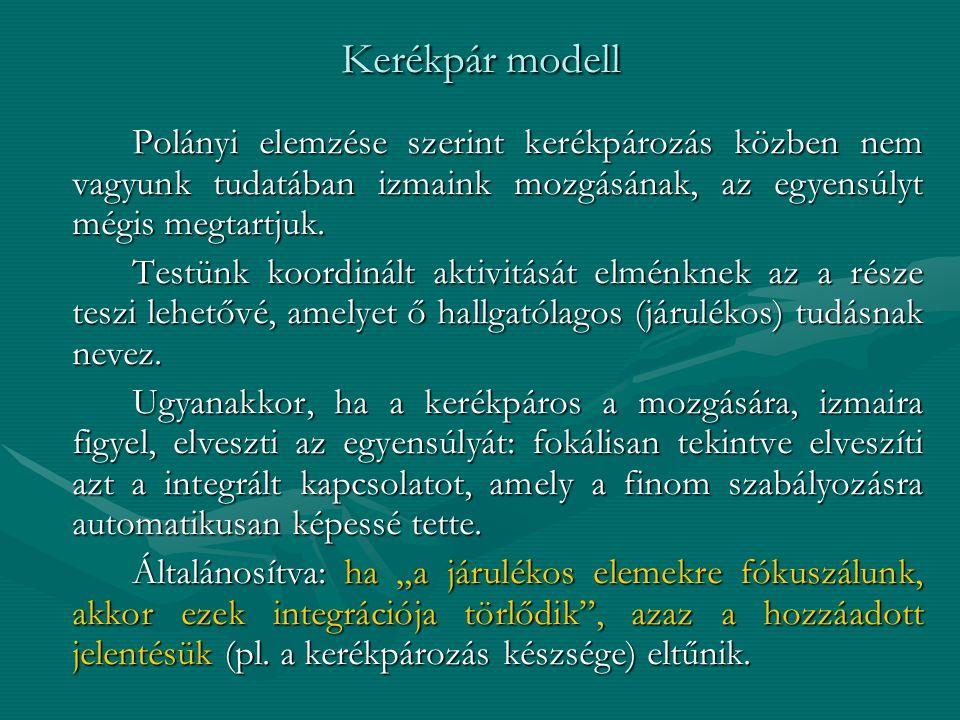 Kerékpár modell Polányi elemzése szerint kerékpározás közben nem vagyunk tudatában izmaink mozgásának, az egyensúlyt mégis megtartjuk.