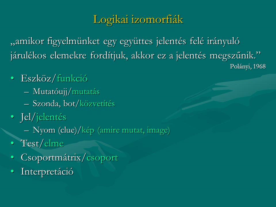 """Logikai izomorfiák """"amikor figyelmünket egy együttes jelentés felé irányuló. járulékos elemekre fordítjuk, akkor ez a jelentés megszűnik."""
