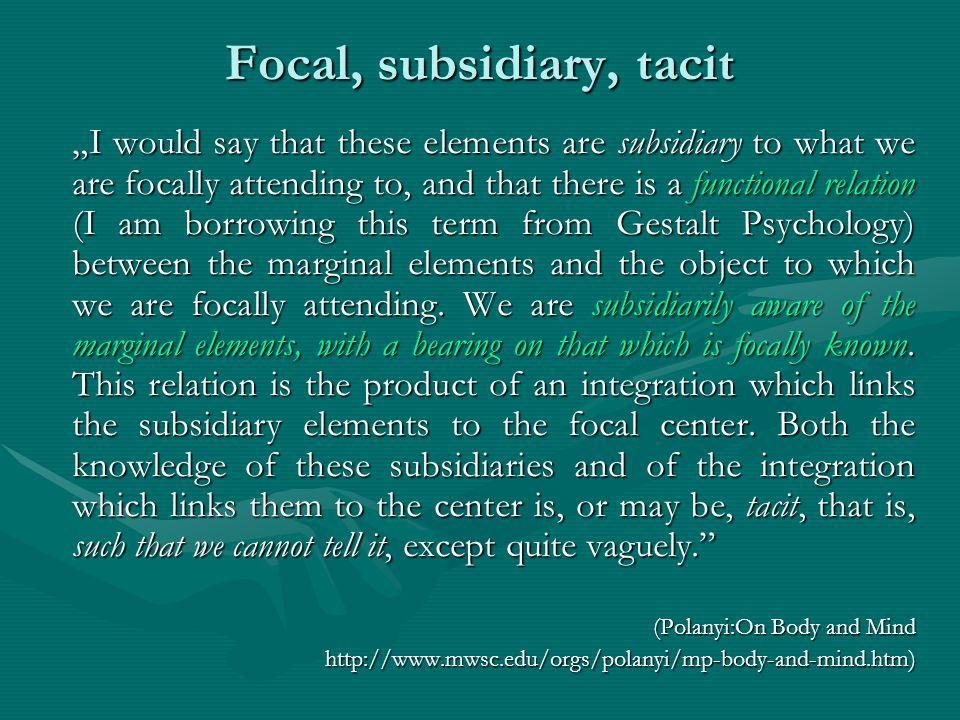 Focal, subsidiary, tacit
