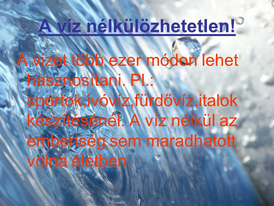 A víz nélkülözhetetlen!