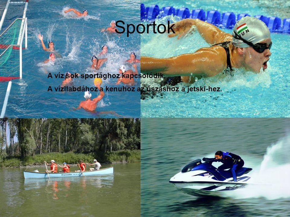 Sportok A víz sok sportághoz kapcsolódik.