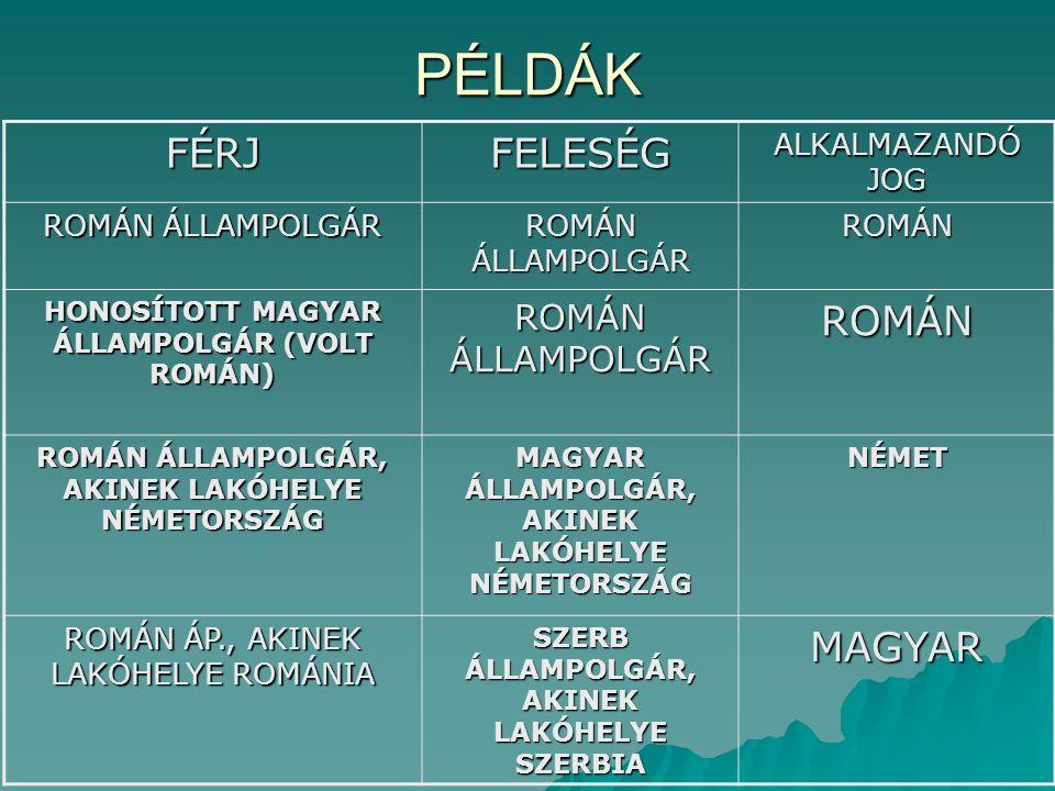 PÉLDÁK FÉRJ FELESÉG MAGYAR ALKALMAZANDÓ JOG ROMÁN ÁLLAMPOLGÁR ROMÁN