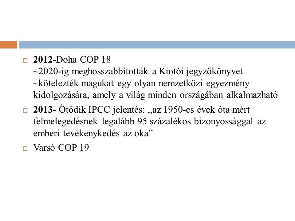 2012-Doha COP 18 ~2020-ig meghosszabbították a Kiotói jegyzőkönyvet ~kötelezték magukat egy olyan nemzetközi egyezmény kidolgozására, amely a világ minden országában alkalmazható