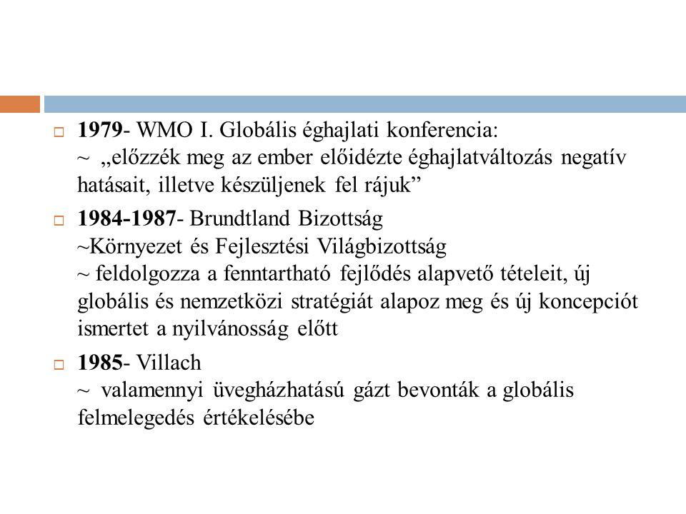 """1979- WMO I. Globális éghajlati konferencia: ~ """"előzzék meg az ember előidézte éghajlatváltozás negatív hatásait, illetve készüljenek fel rájuk"""