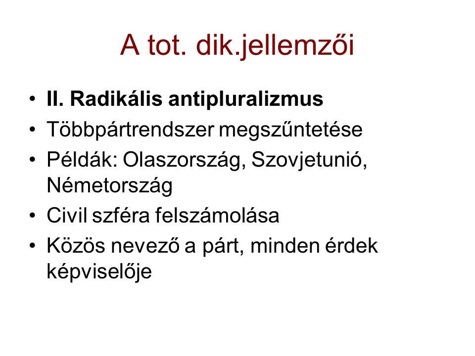 A tot. dik.jellemzői II. Radikális antipluralizmus