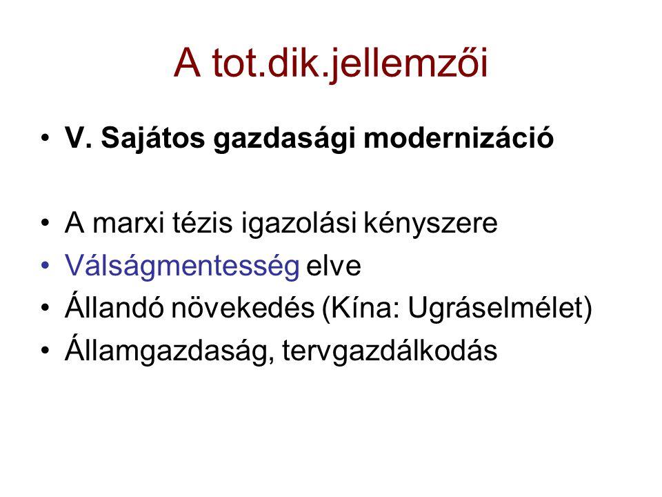 A tot.dik.jellemzői V. Sajátos gazdasági modernizáció
