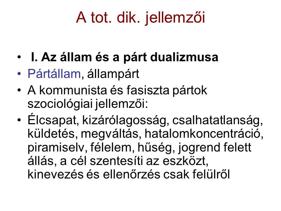 A tot. dik. jellemzői I. Az állam és a párt dualizmusa