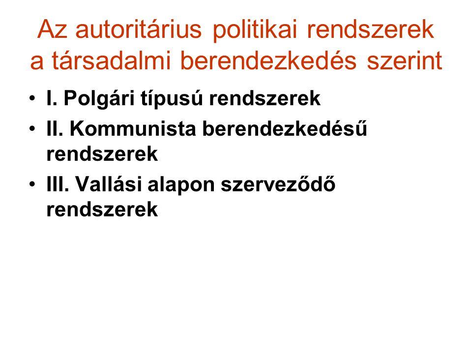 Az autoritárius politikai rendszerek a társadalmi berendezkedés szerint