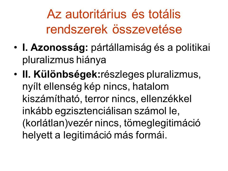 Az autoritárius és totális rendszerek összevetése