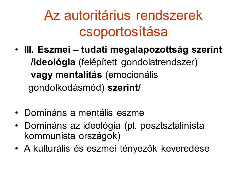 Az autoritárius rendszerek csoportosítása