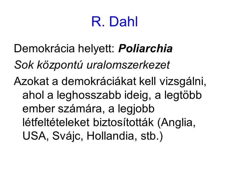 R. Dahl Demokrácia helyett: Poliarchia Sok központú uralomszerkezet