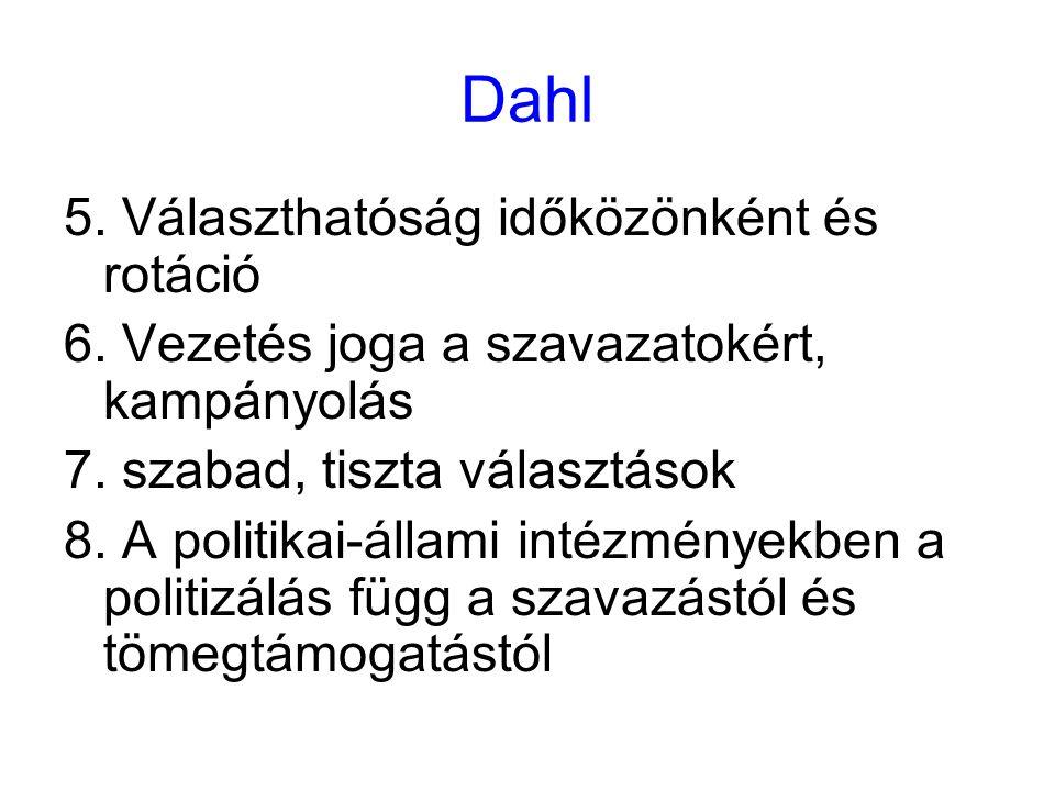Dahl 5. Választhatóság időközönként és rotáció