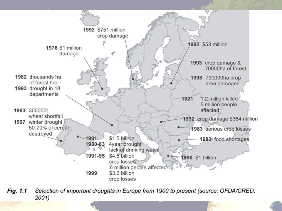 Aszályok Európában 1996-2004 A Meteorológiai Világszervezet 1995 óta évente állásfoglalást ad ki a Föld éghajlati állapotáról (WMO 1996–2004).
