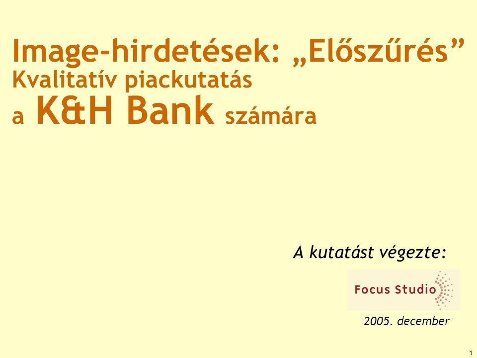 """Image-hirdetések: """"Előszűrés Kvalitatív piackutatás a K&H Bank számára A kutatást végezte: 2005."""