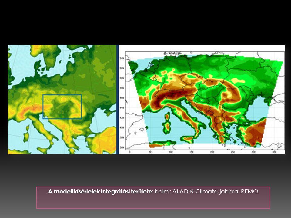 A modellkísérletek integrálási területe: balra: ALADIN-Climate, jobbra: REMO