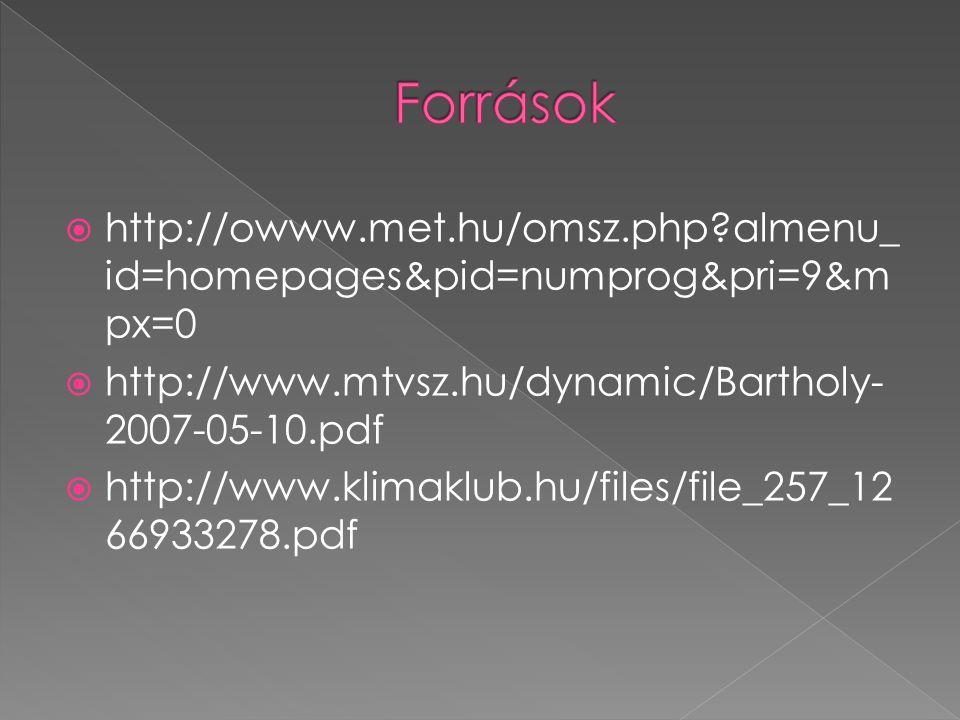Források http://owww.met.hu/omsz.php almenu_id=homepages&pid=numprog&pri=9&mpx=0. http://www.mtvsz.hu/dynamic/Bartholy-2007-05-10.pdf.