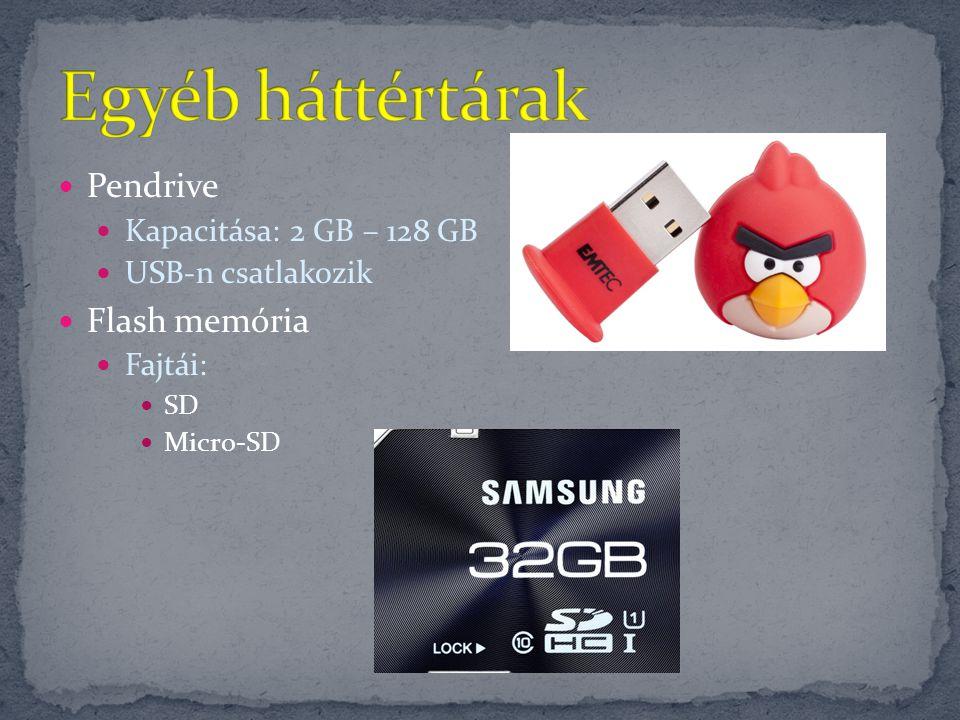 Egyéb háttértárak Pendrive Flash memória Kapacitása: 2 GB – 128 GB