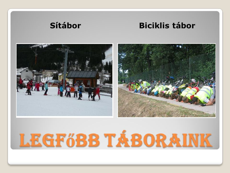 Sítábor Biciklis tábor Legfőbb táboraink