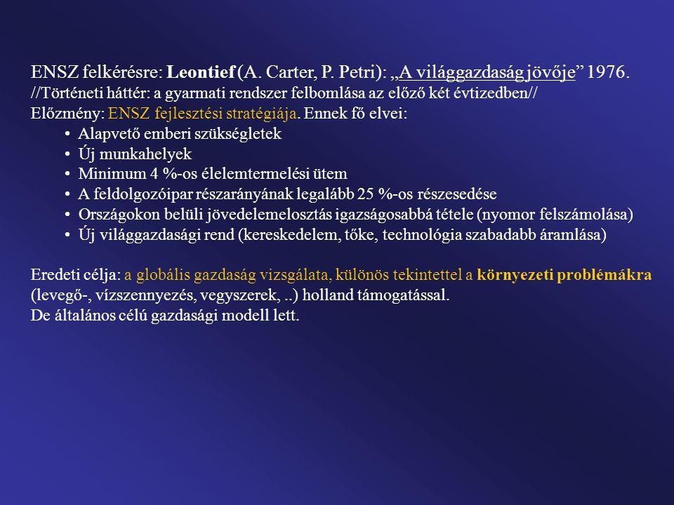 ENSZ felkérésre: Leontief (A. Carter, P