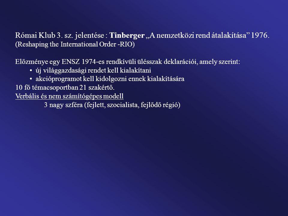 """Római Klub 3. sz. jelentése : Tinberger """"A nemzetközi rend átalakítása 1976. (Reshaping the International Order -RIO)"""