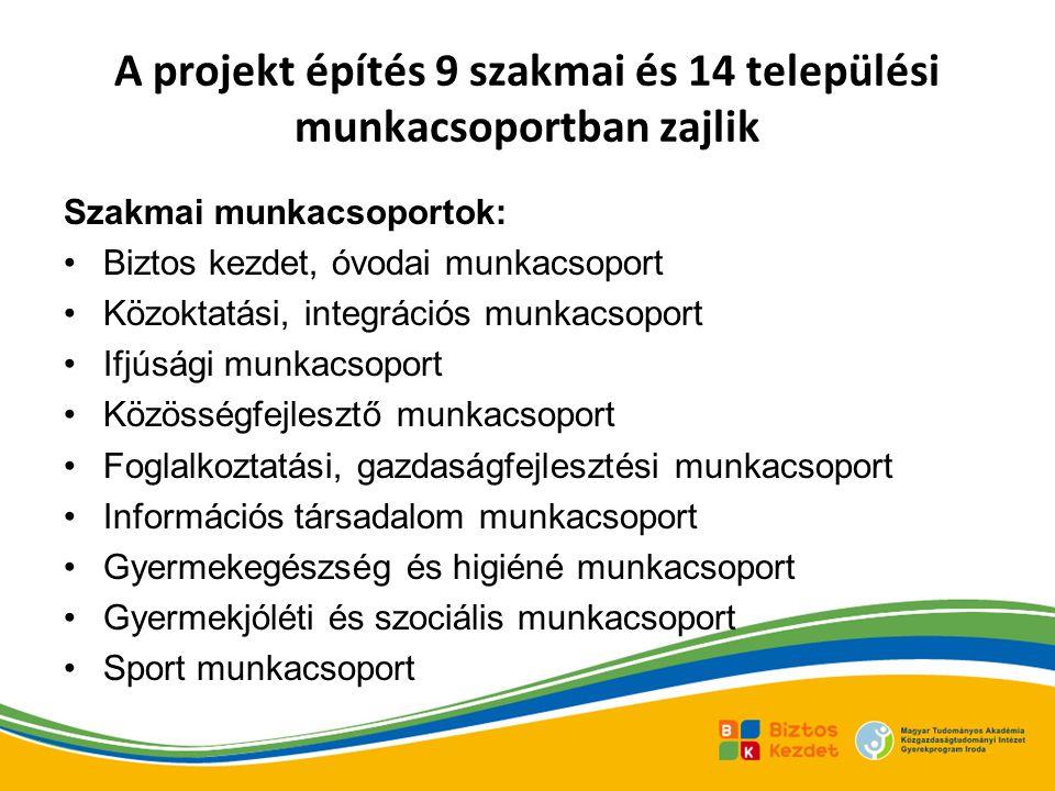 A projekt építés 9 szakmai és 14 települési munkacsoportban zajlik