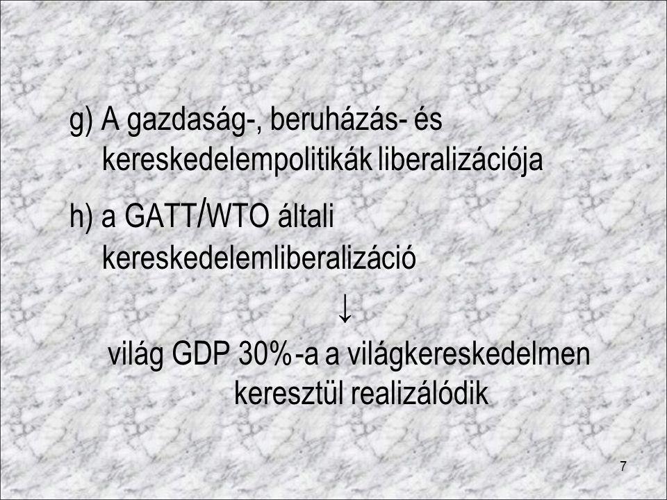 világ GDP 30%-a a világkereskedelmen keresztül realizálódik