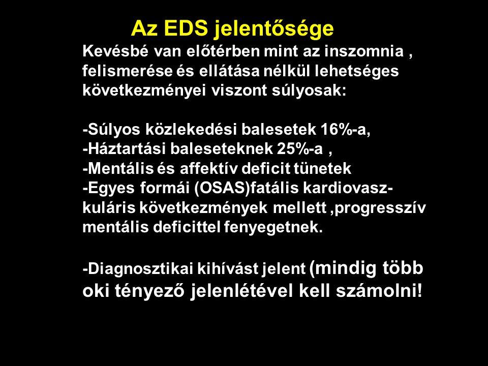 Az EDS jelentősége Kevésbé van előtérben mint az inszomnia , felismerése és ellátása nélkül lehetséges következményei viszont súlyosak: