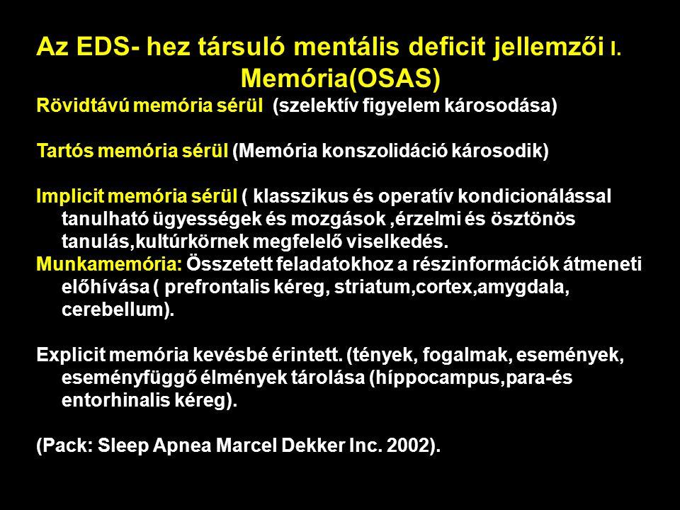 Az EDS- hez társuló mentális deficit jellemzői I. Memória(OSAS)