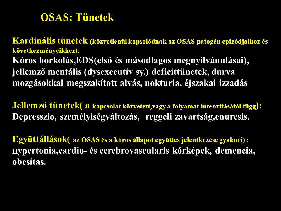 OSAS: Tünetek Kardinális tünetek (közvetlenül kapsolódnak az OSAS patogén epizódjaihoz és következményeikhez):