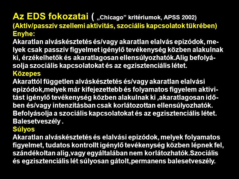 "Az EDS fokozatai ( ""Chicago kritériumok, APSS 2002)"