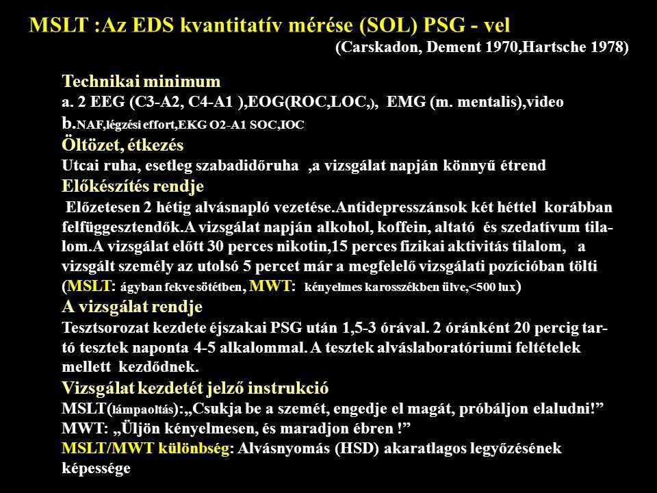 MSLT :Az EDS kvantitatív mérése (SOL) PSG - vel