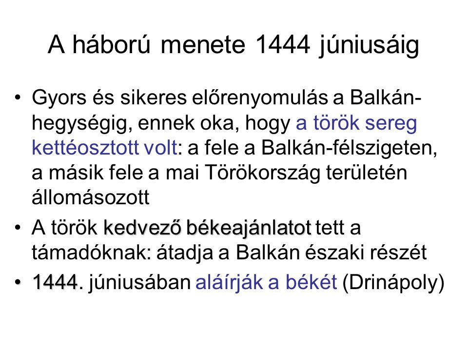 A háború menete 1444 júniusáig