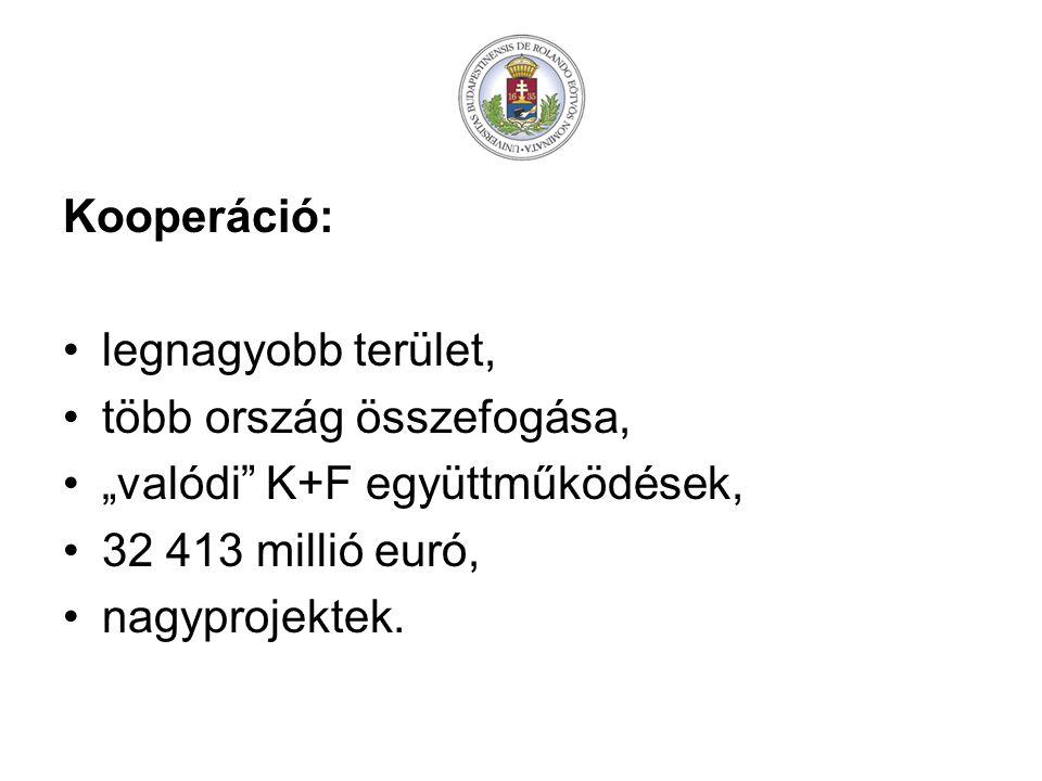 """Kooperáció: legnagyobb terület, több ország összefogása, """"valódi K+F együttműködések, 32 413 millió euró,"""