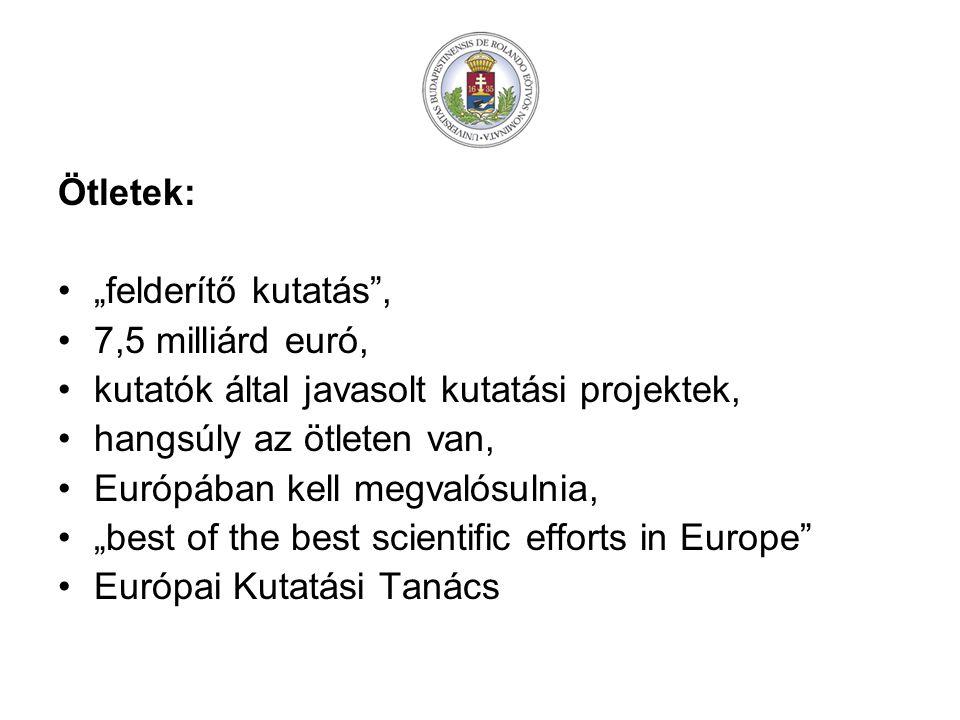 """Ötletek: """"felderítő kutatás , 7,5 milliárd euró, kutatók által javasolt kutatási projektek, hangsúly az ötleten van,"""