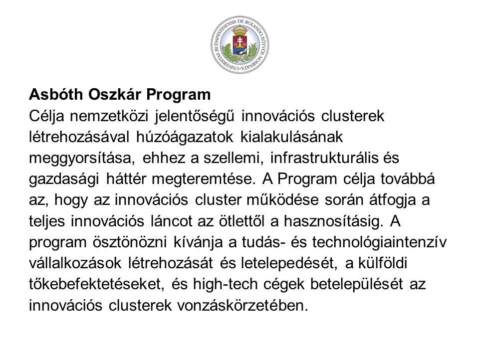 Asbóth Oszkár Program Célja nemzetközi jelentőségű innovációs clusterek. létrehozásával húzóágazatok kialakulásának.
