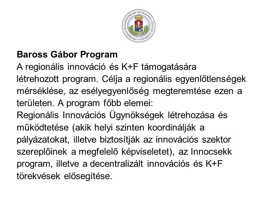 Baross Gábor Program A regionális innováció és K+F támogatására. létrehozott program. Célja a regionális egyenlőtlenségek.