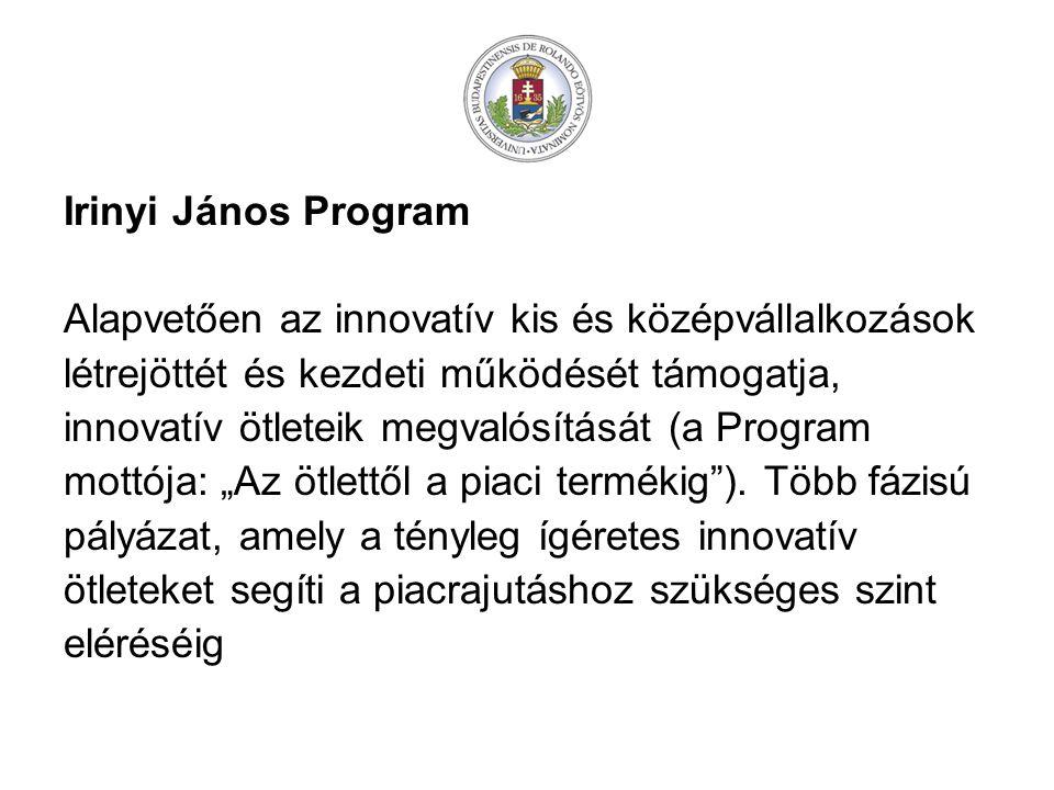 Irinyi János Program Alapvetően az innovatív kis és középvállalkozások. létrejöttét és kezdeti működését támogatja,